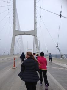 Running up on the bridge!