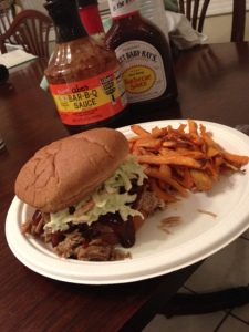 Pulled Pork Sandwhich - Will add recipe to blog! and SWEET POTATO FRIES!!