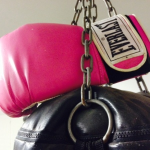 Thanks to the hubby for getting me my own pink boxing gloves a number of years ago!