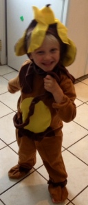 He as a monkey for the play before his graduation! Yes, that is a banana on his head,  he picked it out! LOL
