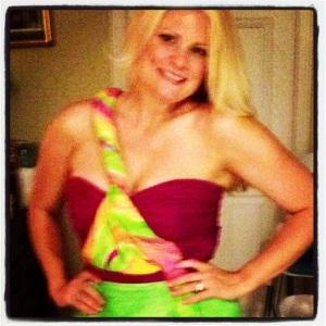 Me Saturday night after the wedding in the dress I made! I painted, dyed, and sewed it!