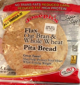Joseph's Pita Bread is what I used and only 60 calories per pita!